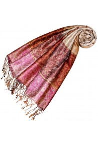 Women's Pashmina 100% Silk Paisley Gold Rose LORENZO CANA