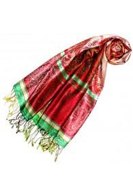 Women's Pashmina 100% Silk Paisley Red Green LORENZO CANA