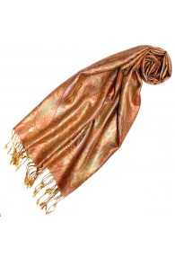 Women's Pashmina 100% Silk Paisley Orange Gold LORENZO CANA