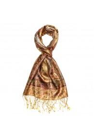 Schal 100% Seide Paisley gold rot hellblau LORENZO CANA