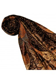 Shawl Silk Wool Paisley Brown Orange For Women LORENZO CANA