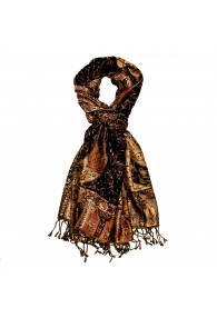 Shawl Silk Wool Paisley Brown Orange For Men LORENZO CANA