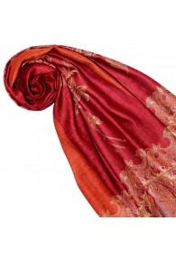 Shawl Silk Wool Paisley Red Orange For Women LORENZO CANA