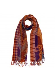 Scarf Wool Paisley Brown Purple For Men LORENZO CANA