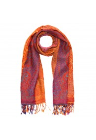 Scarf Wool Paisley Orange Magenta For Men LORENZO CANA