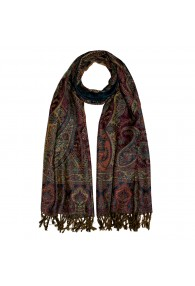 Scarf Wool Paisley Green Dark Red For Men LORENZO CANA