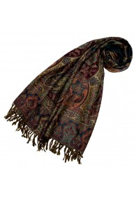 Scarf Wool Paisley Green Dark Red For Women LORENZO CANA