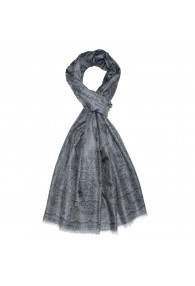 Shawl 100% Cashmere Paisley Silver For Men LORENZO CANA