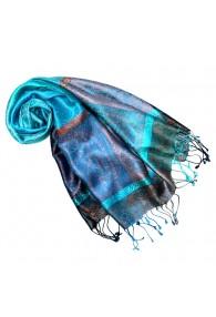 Women's Pashmina 100% Silk Paisley Blue Cyan LORENZO CANA