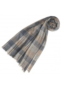 Pashmina 100% Cashmere Checkered Brown Grey For Women LORENZO CANA