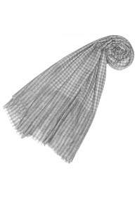 Pashmina 100% Cashmere Checkered Grey White For Women LORENZO CANA