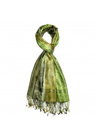 Men's Shawl 100% Silk Paisley Green Lime LORENZO CANA