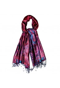 Men's Shawl 100% Silk Paisley Purple Blue LORENZO CANA