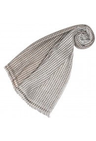 Women's Shawl 100% Cashmere Checkered Brown LORENZO CANA