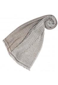 Women's Shawl 100% Cashmere Checkered Brown LORENZO CANA