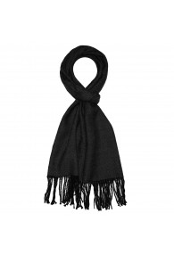 Men's Shawl 100% Alpaca Herringbone Black LORENZO CANA