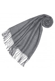 Women's Shawl 100% Alpaca Herringbone Light Grey LORENZO CANA