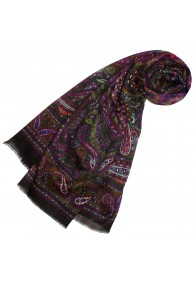 Women's XL Scarf Wool Silk Aztec Purple LORENZO CANA