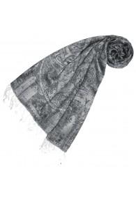 Women's Pashmina Viscose Acrylic Paisley Grey LORENZO CANA