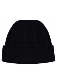 Cap 100% Cashmere Cable Stitch Black Anthracite LORENZO CANA