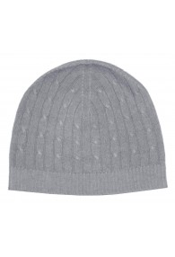 Mens Beanie Cashmere Cable Knit Gray LORENZO CANA