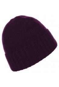 Beanie 100% cashmere Fold back Purple LORENZO CANA