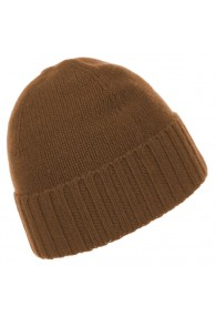 Beanie 100% cashmere Fold back Light Brown LORENZO CANA