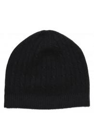 Mütze 100% Kaschmir Zopf schwarz anthrazit LORENZO CANA