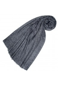 Cashmere mens scarf uncoloured Aztec pattern LORENZO CANA