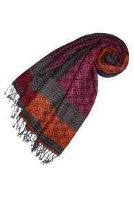 Cotton and wool scarf gray red orange LORENZO CANA