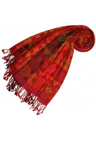Cotton and wool scarf red yellow green LORENZO CANA
