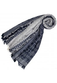 Scarf for Women Gray Navy Blue Cotton LORENZO CANA