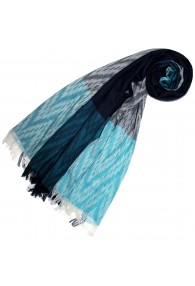 Scarf for Women Turquoise Dark Blue Gray Cotton LORENZO CANA
