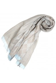 Scarf for men Beige Brown Light blue Cotton LORENZO CANA
