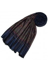 Cashmere mens scarf midnight blue Paisley LORENZO CANA