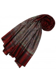 Cashmere mens scarf maple red paisley LORENZO CANA