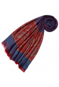 Cashmere scarf Blue Red Paisley LORENZO CANA