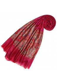 Cashmere mens scarf Pink Red Paisley LORENZO CANA