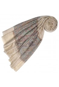 Cashmere mens scarf sand colors Paisley LORENZO CANA