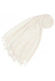 Cashmere + wool mens scarf ivory white single color LORENZO CANA