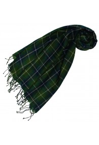 Cashmere + wool scarf green checked LORENZO CANA