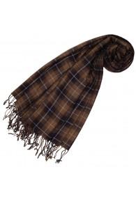 Cashmere + wool scarf brown check LORENZO CANA