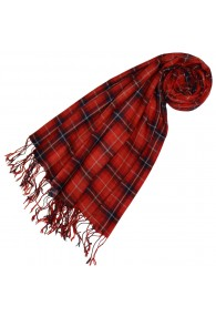 Cashmere + wool scarf red checked LORENZO CANA