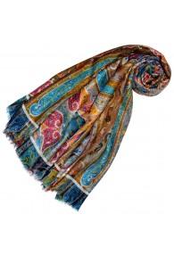 Cashmere silk ladies shawl turquoise LORENZO CANA