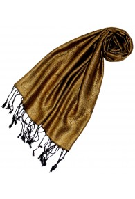 Scarf 100% Silk Paisley Gold Black LORENZO CANA