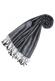 Scarf 100% Silk Paisley Steel Gray Black LORENZO CANA