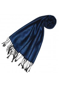 Scarf 100% Silk Paisley Royal Blue Black LORENZO CANA