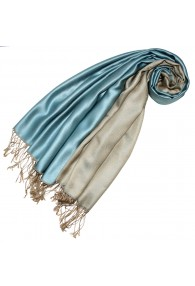 Silk + Viscose Pashmina Double Light Blue Beige LORENZO CANA
