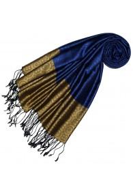 Silk + Viscose Men Scarf Blue Gold LORENZO CANA