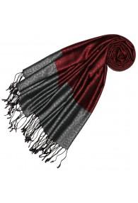 Silk + Viscose Men Scarf Dark Red Gray LORENZO CANA